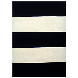 Thumbnail 1, Hand-tufted Black/ Ivory Stripe Wool Rug (5' x 8') - multi.