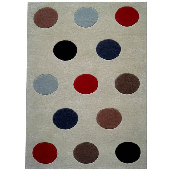 Hand-tufted Multi-color Ball Wool Rug - 5' x 8'