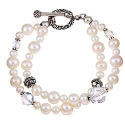 Lola's Jewelry Sterling Silver Double-strand White Freshwater Pearl Bracelet (8 mm)|https://ak1.ostkcdn.com/images/products/4783459/Charming-Life-Sterling-Silver-Double-strand-Pearl-Bracelet-8-mm-P12682846.jpg?impolicy=medium