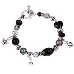 Lola's Jewelry Pewter Black Onyx and Pearl Bracelet (9 mm)