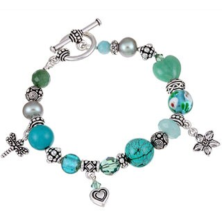 Lola's Jewelry Pewter Turquoise and Pearl Bracelet (12 mm)