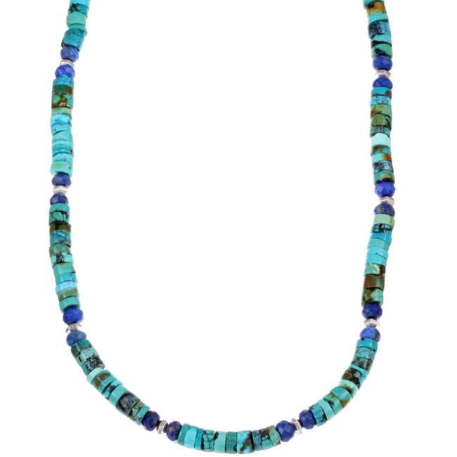 Lola's Jewelry Men's Sterling Silver Turquoise and Lapis Necklace