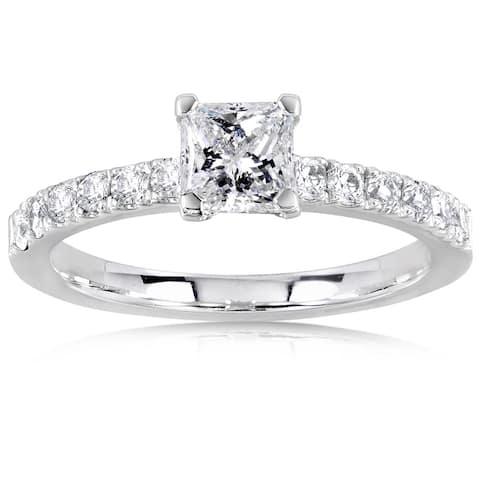 Annello by Kobelli 14k White Gold 3/4ct TDW Princess Diamond Engagement Ring