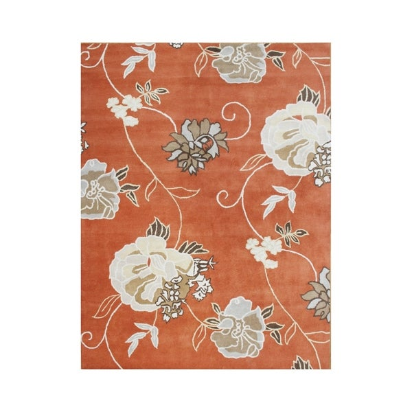 Hand-tufted Flower Rust Wool Rug (8' x 10') - 8' x 10'