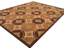 Hand-tufted Ash Brown Wool Rug (7'9 x 9'9) - Thumbnail 1