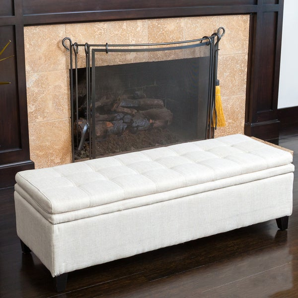 Brighton Ivory Linen Storage Ottoman by Christopher Knight Home