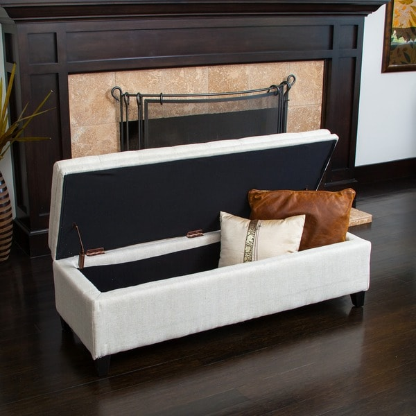 Brighton Ivory Linen Storage Ottoman By Christopher Knight Home   Free  Shipping Today   Overstock.com   12683127