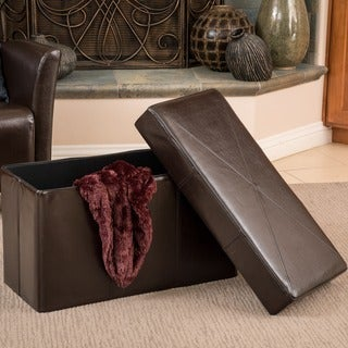 Nottingham Brown Bonded Leather Folding Storage Ottoman by Christopher Knight Home