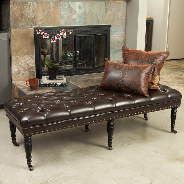Hastings Brown Tufted Bonded Leather Ottoman Bench By Christopher Knight Home Free Shipping