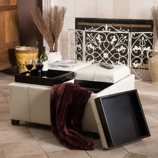Dartmouth Four Sectioned Cream Bonded Leather Cube Storage Ottoman by Christopher Knight Home