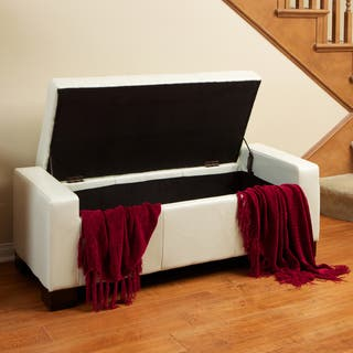 Guernsey Ivory Bonded Leather Storage Ottoman Bench by Christopher Knight Home|https://ak1.ostkcdn.com/images/products/4783885/P12683155.jpg?impolicy=medium