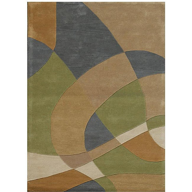 Hand-Tufted Geometric Abstract Multi Wool Rug - 8' x 11'