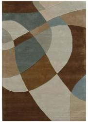 Hand-Tufted Geometric Contemporary Multi Wool Rug (8' x 11') - Thumbnail 2