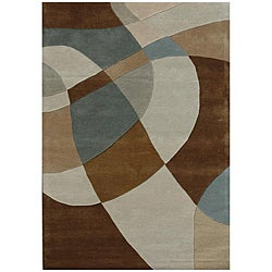 Hand-Tufted Geometric Contemporary Multi Wool Rug - 8' x 11' - Thumbnail 0
