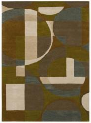 Hand-Tufted Geometric Multi Wool Rug with Shades of Teal and Tan (5' x 8') - Thumbnail 2