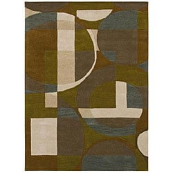 Hand-Tufted Geometric Multi Wool Rug with Shades of Teal and Tan (5' x 8')