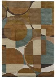 Hand-Tufted Geometric Multicolored Wool Rug (8' x 11')