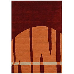 Hand-Tufted Geometric Multi Wool Area Rug - 8' x 11' - Thumbnail 0