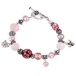 Lola's Jewelry Pewter Rose Quartz and Pearl Bracelet (9 mm)