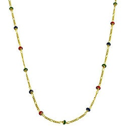 Fremada 14k Gold Multi-colored Enamel Station 18-inch Figaro Chain Necklace