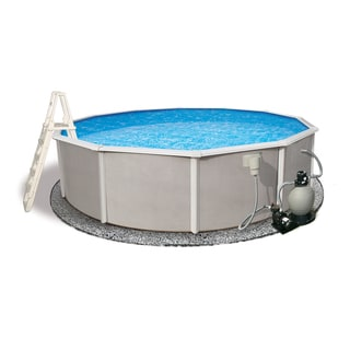 Belize Round 48-inch Deep, 6-inch Top Rail Metal Wall Swimming Pool Package (Option: 15')