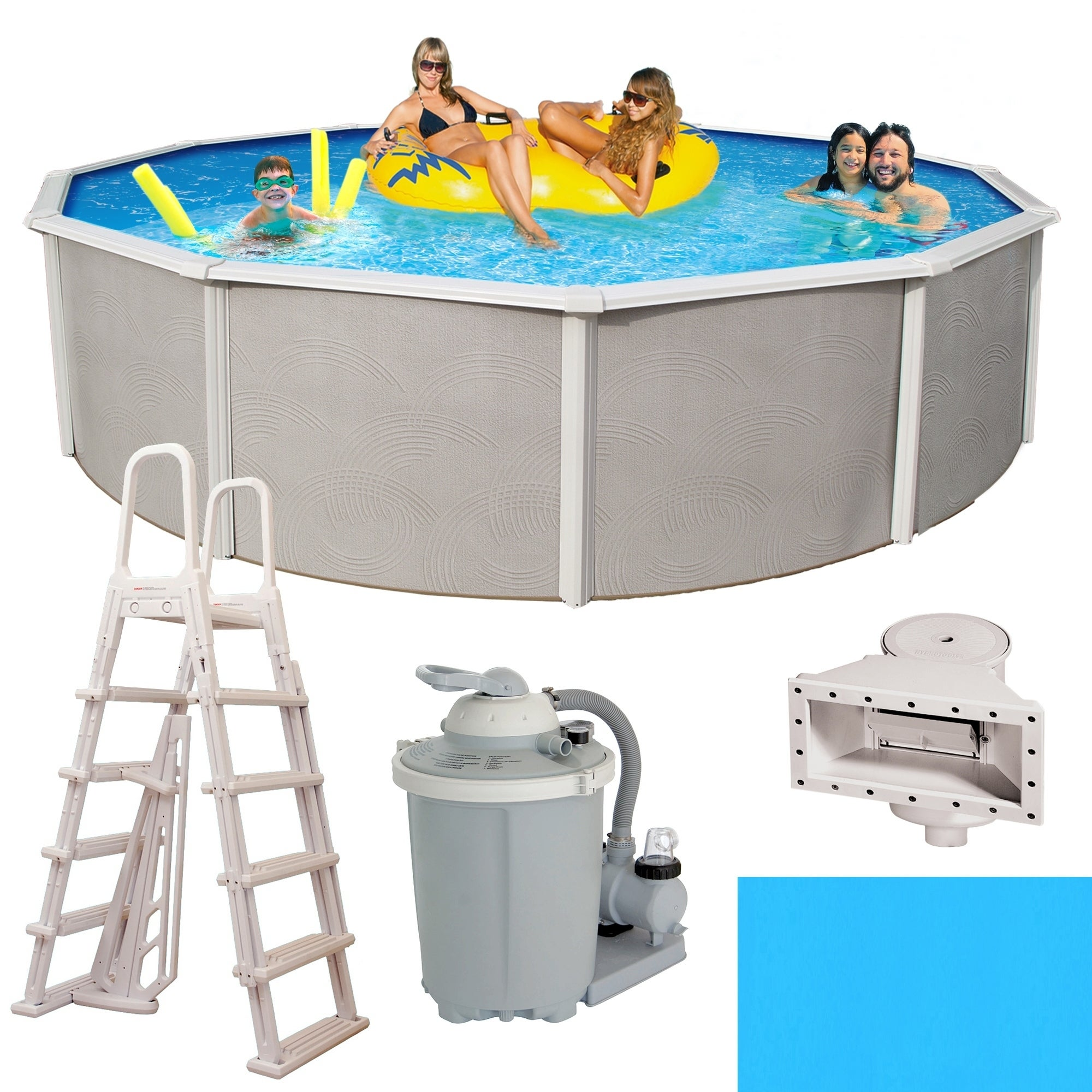 Belize Round 48-inch Deep, 6-inch Top Rail Metal Wall Swimming Pool Package