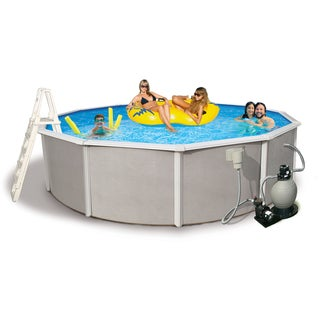 Belize Round 52-inch Deep, 6-inch Top Rail Metal Wall Swimming Pool Package (Option: 15')