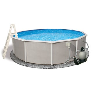 Belize Round 52-inch Deep, 6-inch Top Rail Metal Wall Swimming Pool Package (3 options available)