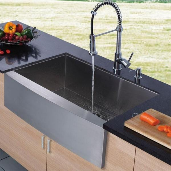 VIGO Farmhouse Stainless Steel Kitchen Sink Chrome Faucet and Dispenser Fr