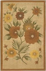 Artist's Loom Handmade Flatweave Transitional Floral Wool Rug (7'9 Square) - Thumbnail 2