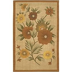 Artist's Loom Handmade Flatweave Transitional Floral Wool Rug - 7'9 - Thumbnail 0