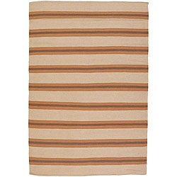 Artist's Loom Hand-woven Casual Stripes Wool Rug (5'x7'6) - Thumbnail 0