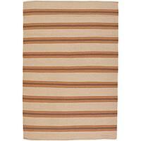 Artist's Loom Hand-woven Casual Stripes Wool Rug (5'x7'6)