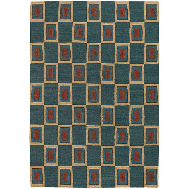 Artist's Loom Hand-woven Contemporary Geometric Wool Rug (5'x7'6)