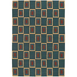 Artist's Loom Hand-woven Contemporary Geometric Wool Rug (5'x7'6) - Thumbnail 0