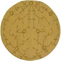 Artist's Loom Handmade Flatweave Transitional Floral Wool Rug - 7'9