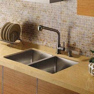 VIGO Double Bowl Undermount Stainless Steel Kitchen Sink & Faucet Set