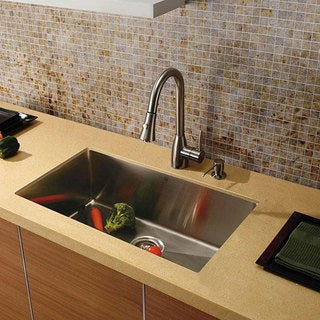 VIGO Undermount Satin-Finish Stainless-Steel Kitchen Sink Faucet/Dispenser