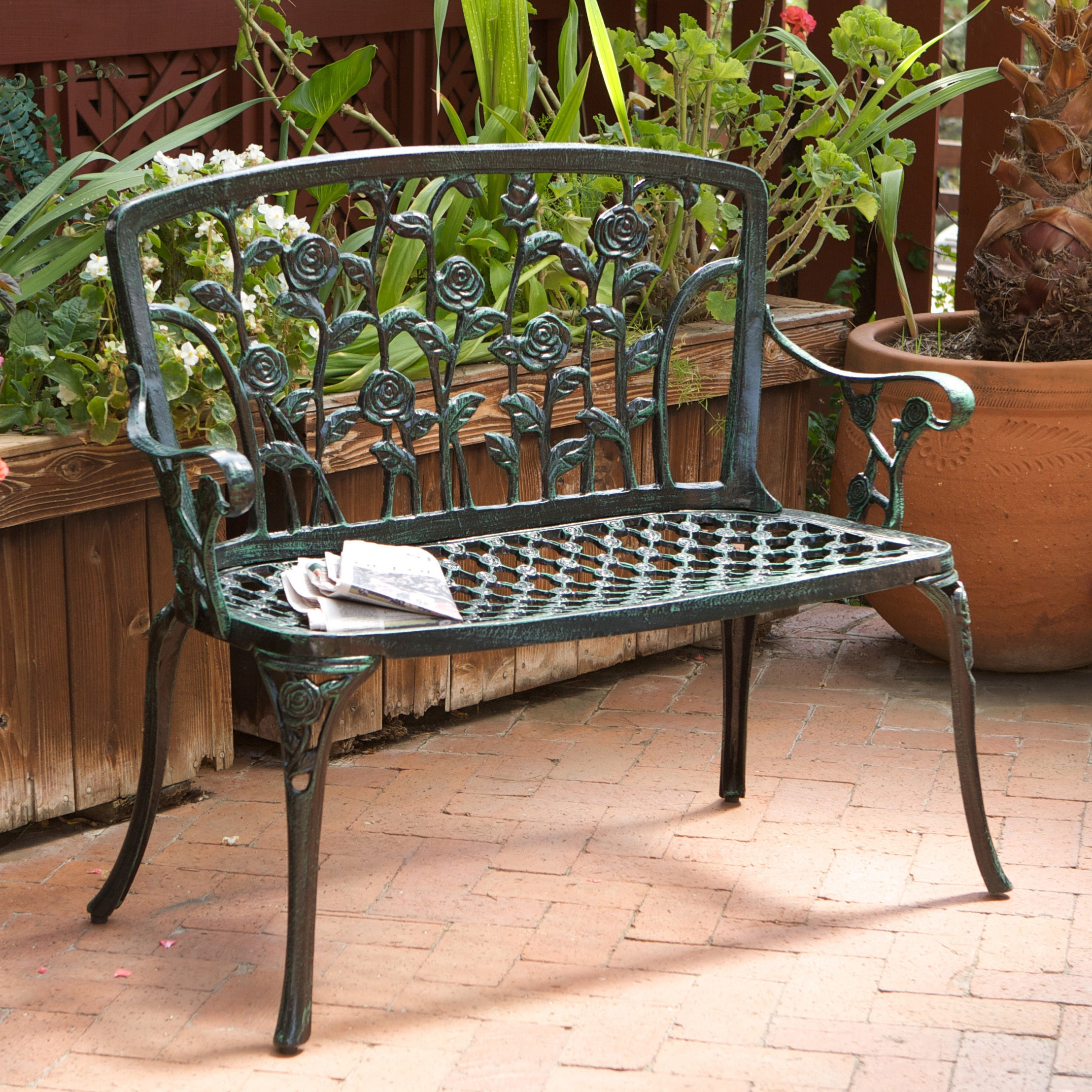 Superb Cast Aluminum Patio Bench Green Metal Elegant Outdoor Curved Arms Yard Bench  NEW