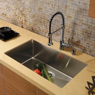 "VIGO All-In-One 32"" Mercer Stainless Steel Undermount Kitchen Sink Set With Edison Faucet In Chrome"