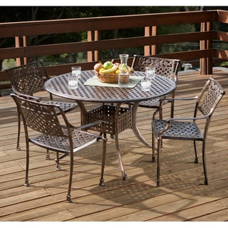 Sebastian Cast Aluminum Copper Outdoor Dining Set by Christopher Knight Home