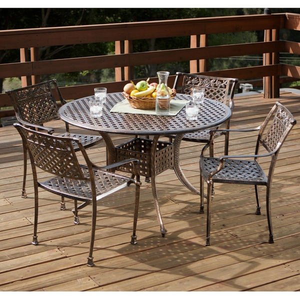Sebastian Cast Aluminum Copper Outdoor Dining Set by Christopher ...