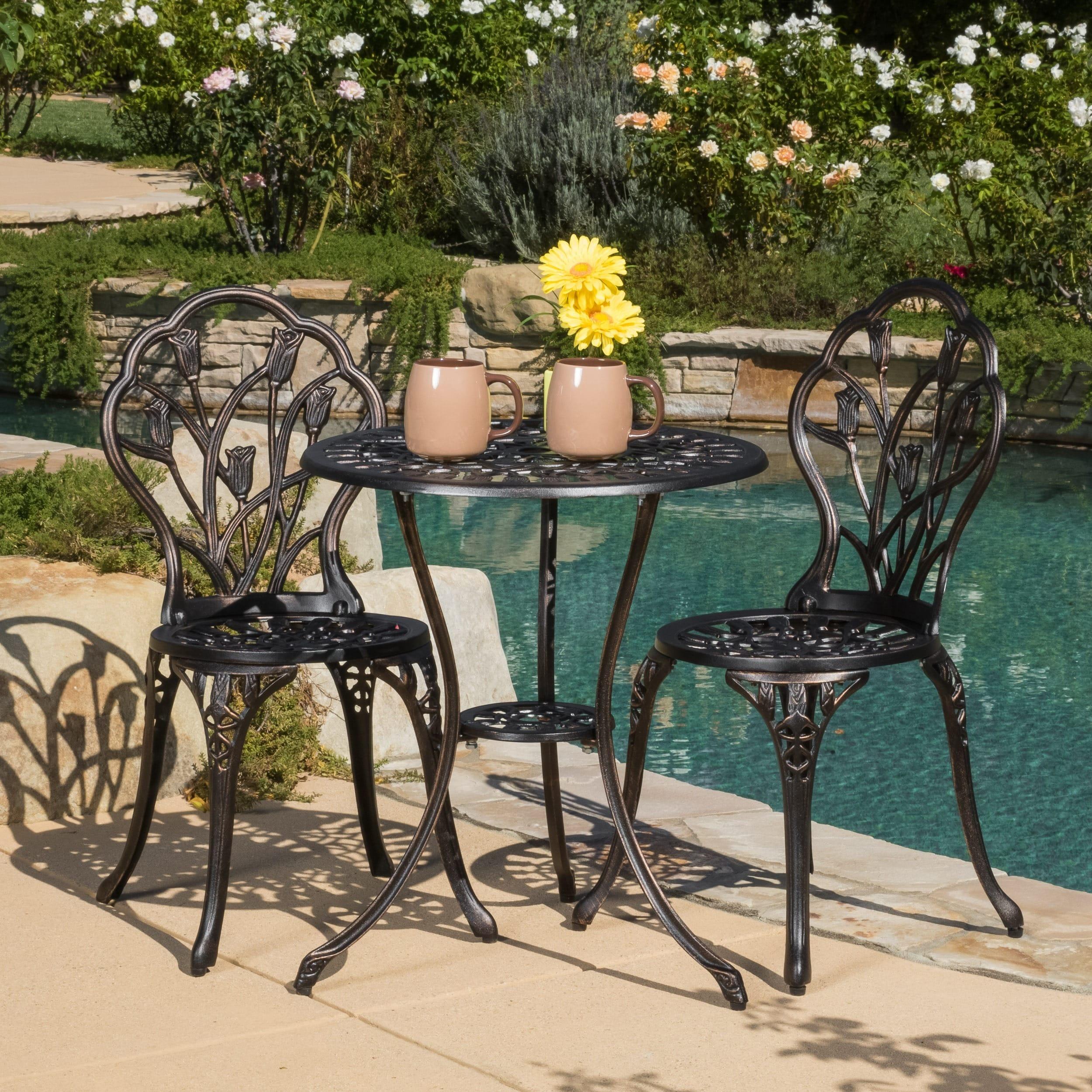 Swell Nassau Cast Aluminum Outdoor Bistro Furniture Set By Christopher Knight Home Uwap Interior Chair Design Uwaporg