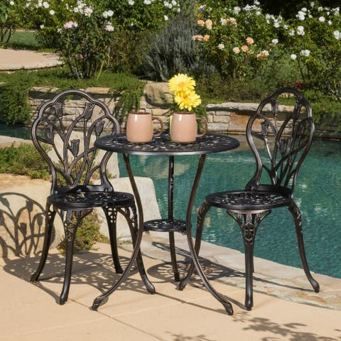 Nassau Outdoor Vintage Style Cast Aluminum Bistro Set with Tulips by Christopher Knight Home