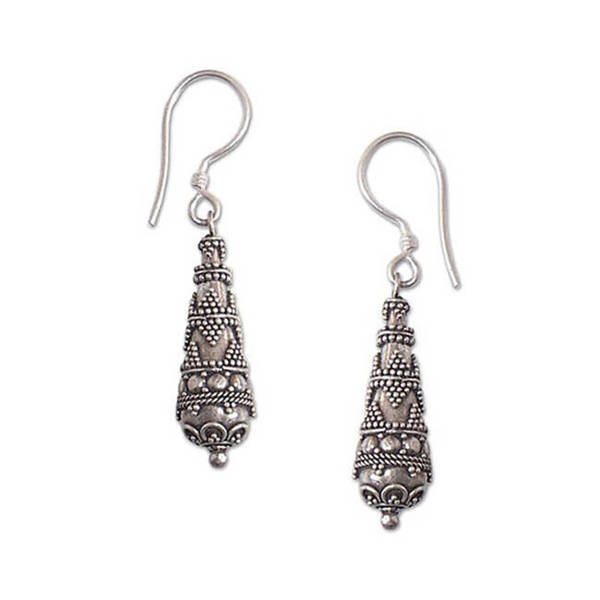 Handmade Sterling Silver 'Traditions' Drop Earrings (Indonesia)