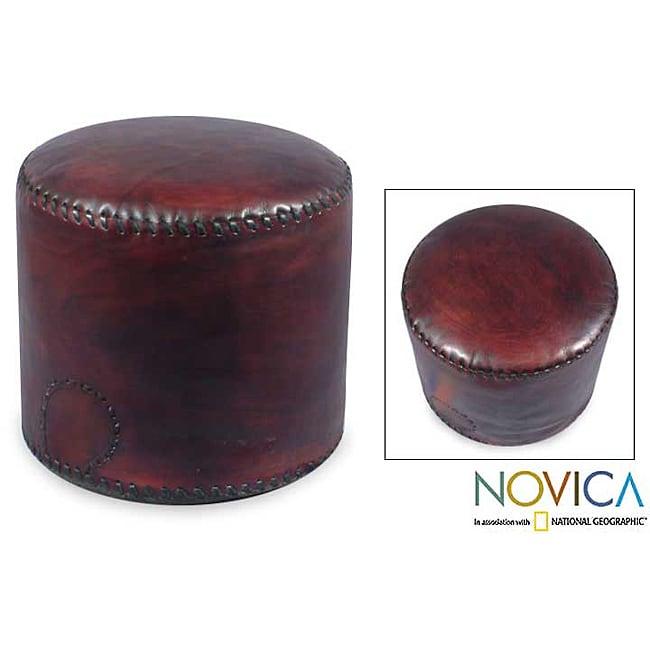 'Littoral Coffee' Leather Ottoman Cover (Brazil)