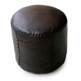 Handmade 'Littoral Coffee' Leather Ottoman Pouf Cover (Brazil)