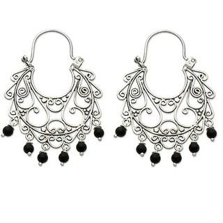 Handmade Sterling Silver 'Fantasy' Onyx Chandelier Earrings (Indonesia)