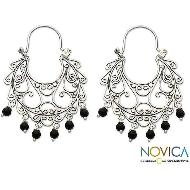 Sterling Silver 'Fantasy' Onyx Chandelier Earrings (Indonesia)