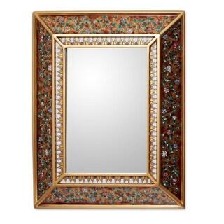 Flowers On Gold Artisan Home Decor Floral Cedar Accent Hall Bedroom Bathroom Wall Mirror